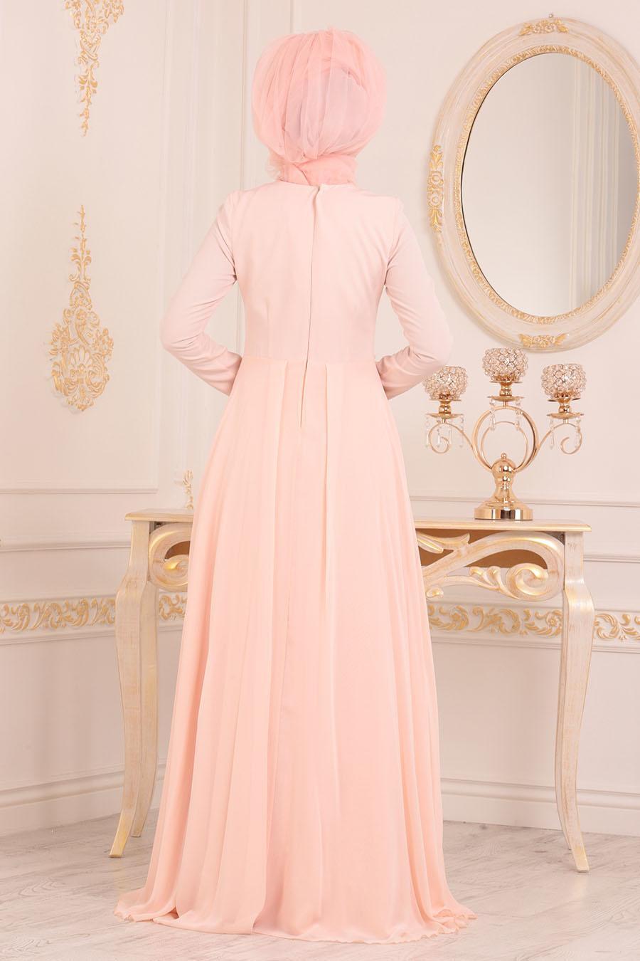 Tesettürlü Abiye Elbise - Dantel Detaylı Somon Tesettür Abiye Elbise 20510SMN