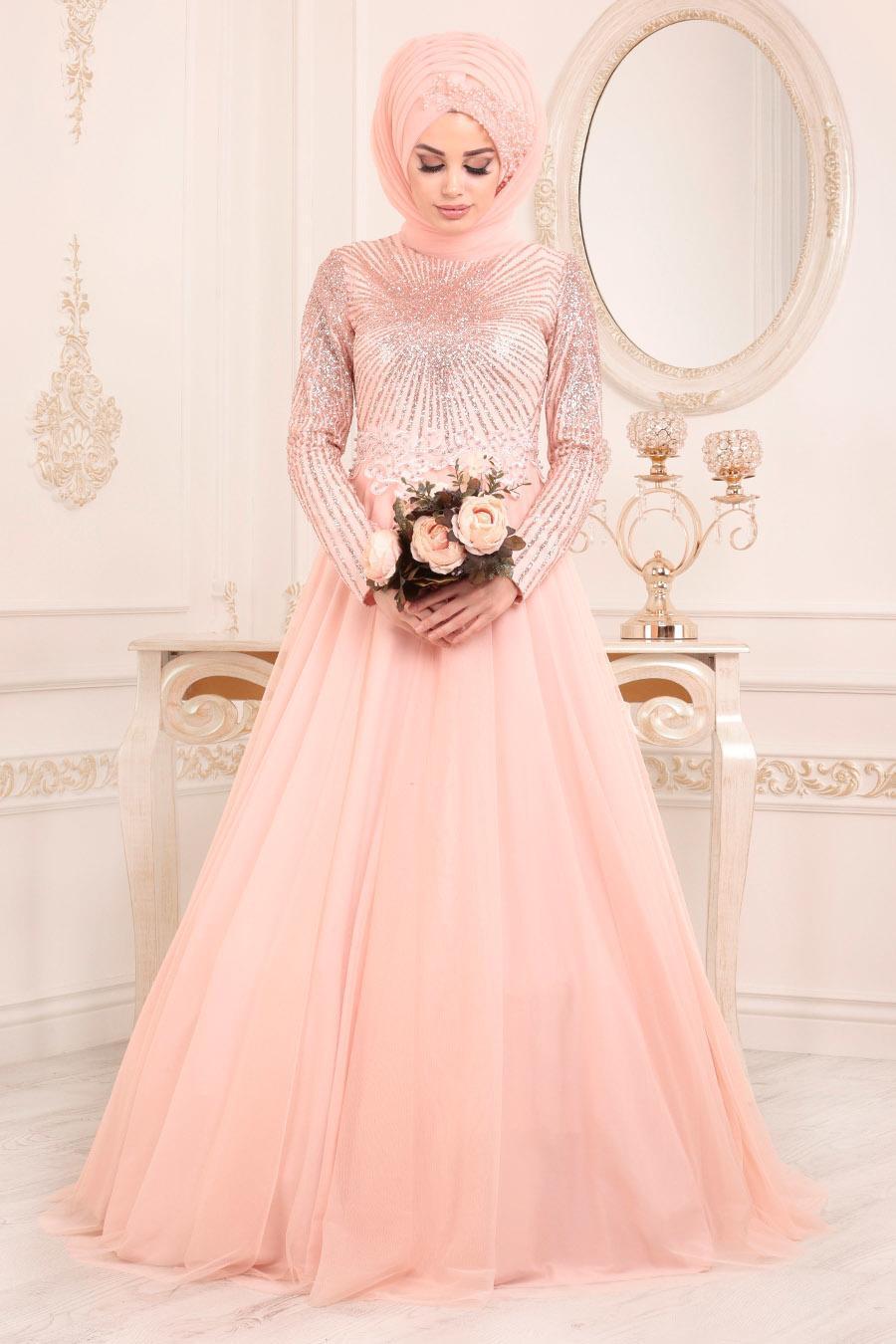 Tesettürlü Abiye Elbise - Dantel Detaylı Somon Tesettür Abiye Elbise 2073SMN