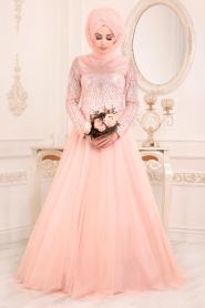 Tesettürlü Abiye Elbise - Dantel Detaylı Somon Tesettür Abiye Elbise 2073SMN - Thumbnail