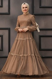 Tesettürlü Abiye Elbise - Dantel Detaylı Vizon Tesettür Abiye Elbise 2335V - Thumbnail