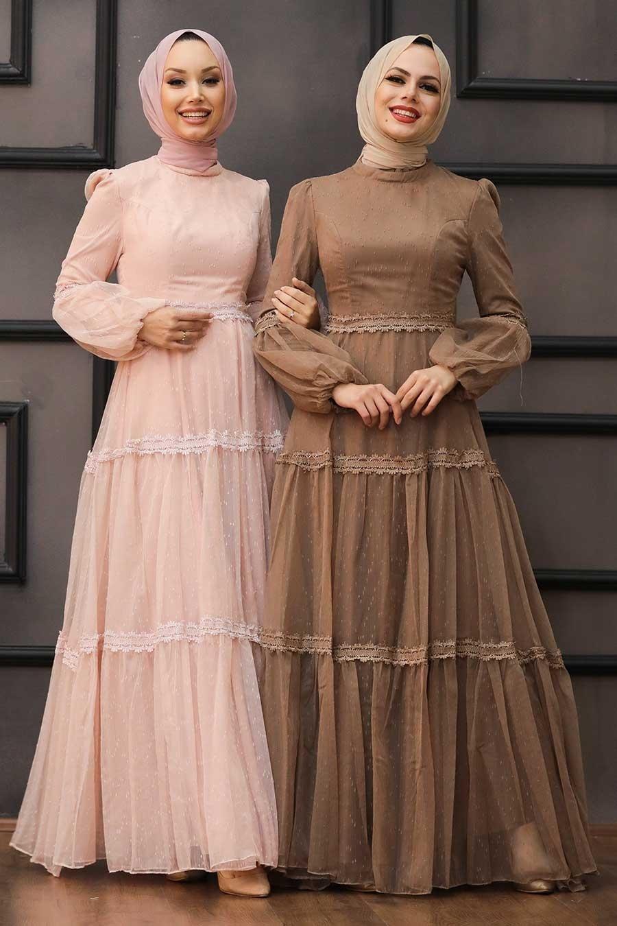 Tesettürlü Abiye Elbise - Dantel Detaylı Vizon Tesettür Abiye Elbise 2335V