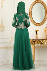 Tesettürlü Abiye Elbise - Dantel Detaylı Yeşil Tesettürlü Abiye Elbise 8217Y - Thumbnail