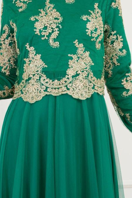 Tesettürlü Abiye Elbise - Dantel Detaylı Yeşil Tesettürlü Abiye Elbise 8217Y