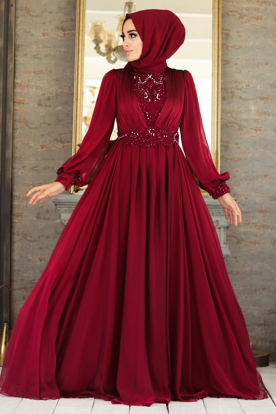 Tesettürlü Abiye Elbise - Dantelli Bordo Tesettür Abiye Elbise 21540BR