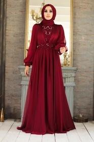 Tesettürlü Abiye Elbise - Dantelli Bordo Tesettür Abiye Elbise 21540BR - Thumbnail