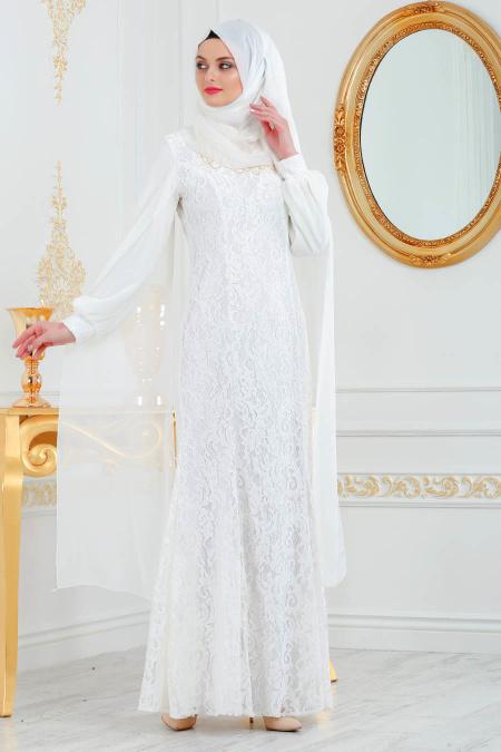Tesettürlü Abiye Elbise - Dantelli Ekru Tesettür Abiye Elbise 40180E