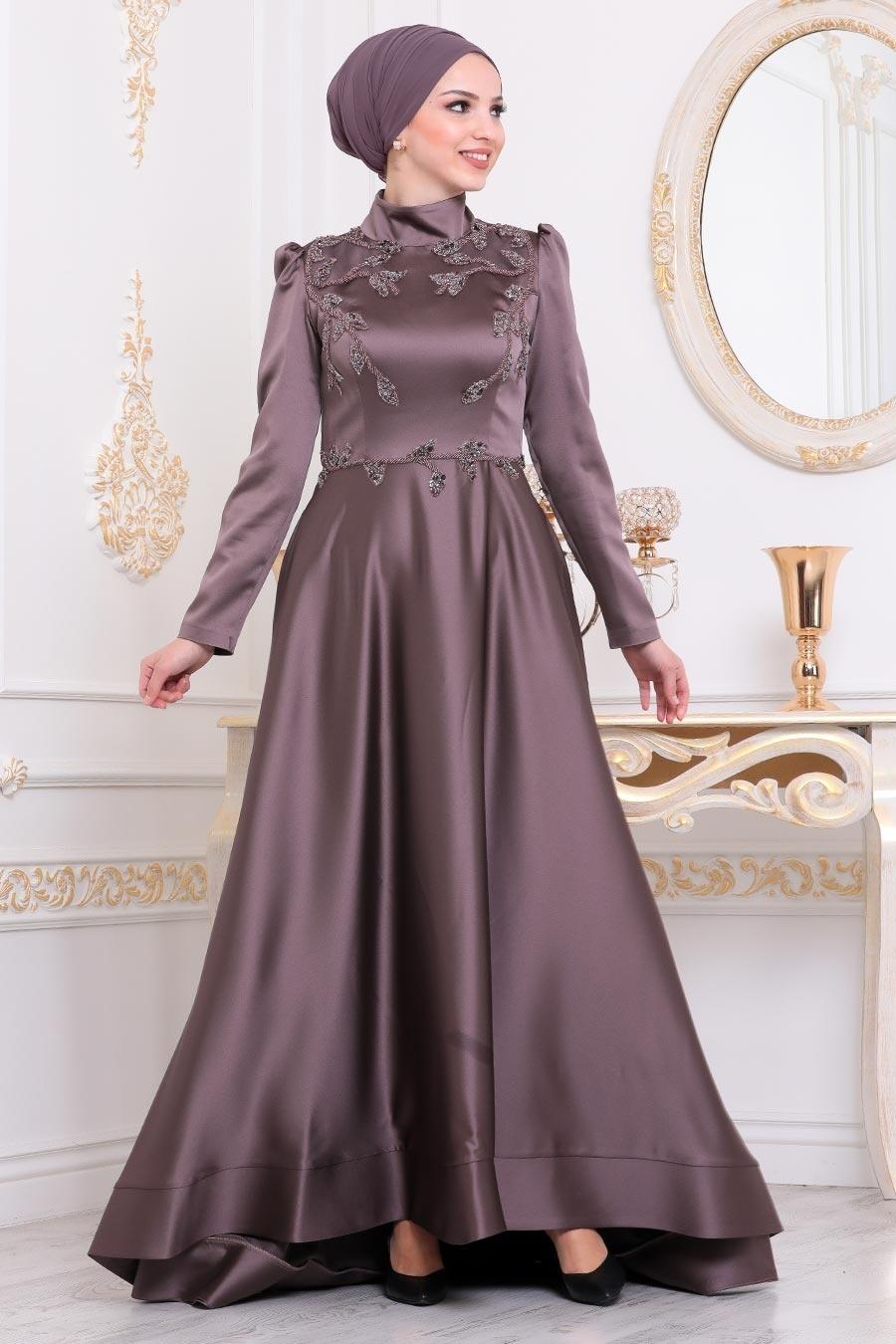 Tesettürlü Abiye Elbise - Dantelli Kahverengi Tesettür Abiye Elbise 41172KH