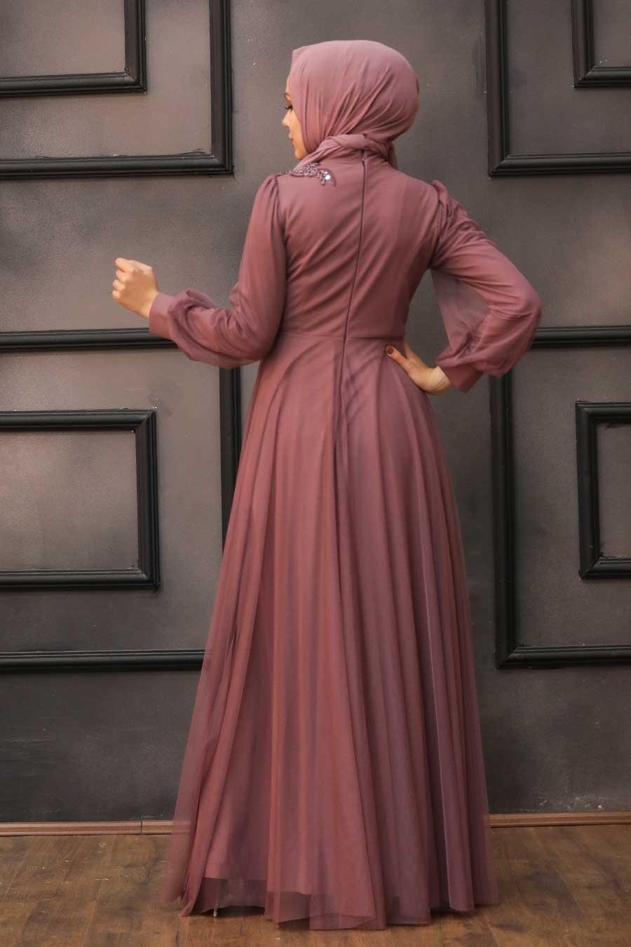 Tesettürlü Abiye Elbise - Dantelli Koyu Gül Kurusu Tesettür Abiye Elbise 22061KGK