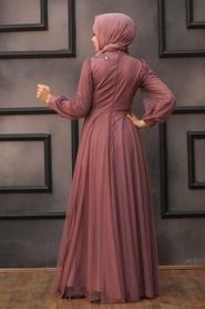 Tesettürlü Abiye Elbise - Dantelli Koyu Gül Kurusu Tesettür Abiye Elbise 22061KGK - Thumbnail