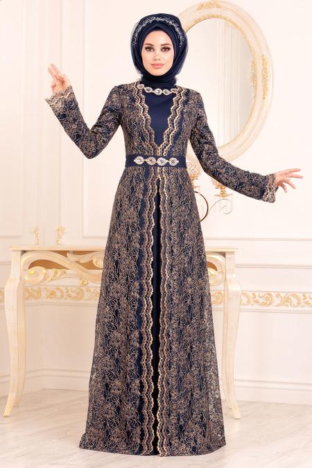 Tesettürlü Abiye Elbise - Dantelli Lacivert Tesettür Abiye Elbise 2011L