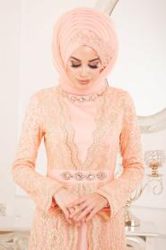 Tesettürlü Abiye Elbise - Dantelli Somon Tesettür Abiye Elbise 2011SMN - Thumbnail