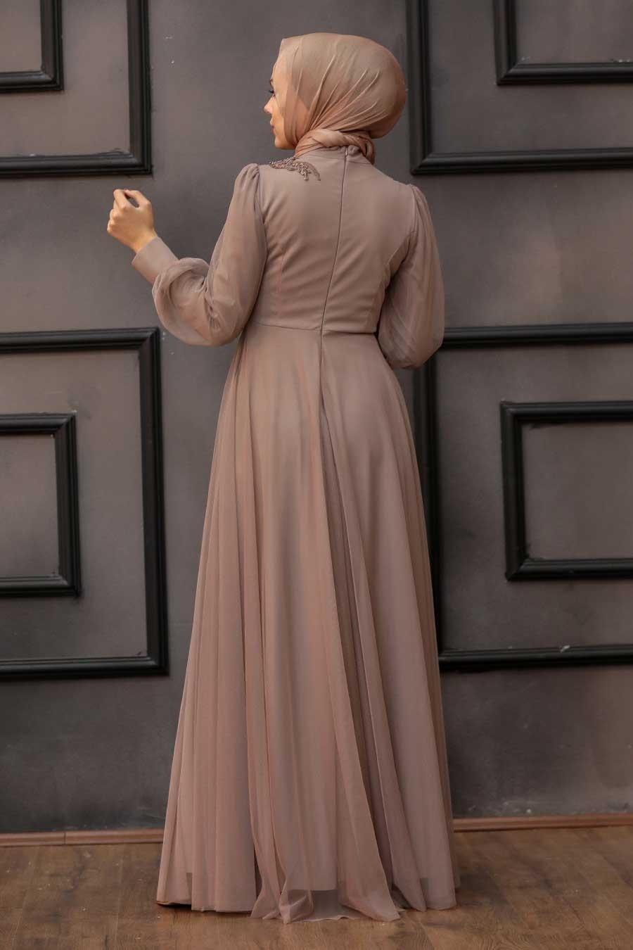 Tesettürlü Abiye Elbise - Dantelli Vizon Tesettür Abiye Elbise 22061V