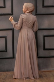 Tesettürlü Abiye Elbise - Dantelli Vizon Tesettür Abiye Elbise 22061V - Thumbnail