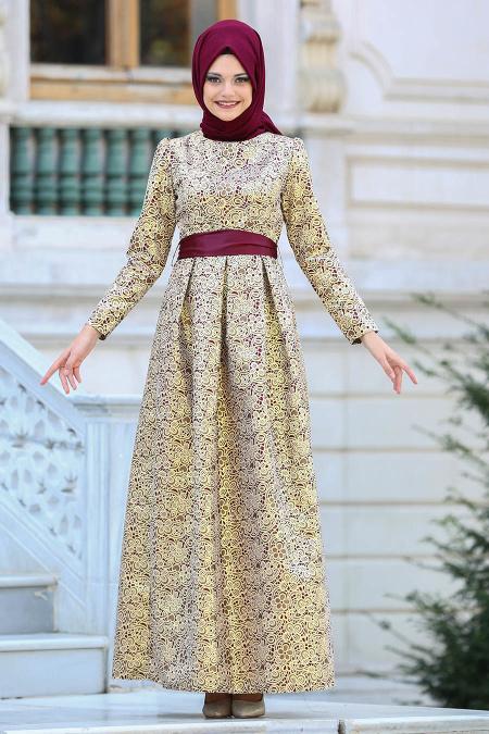 Tesettürlü Abiye Elbise - Desenli Bordo Jakarlı Tesettür Abiye Elbise 82452BR