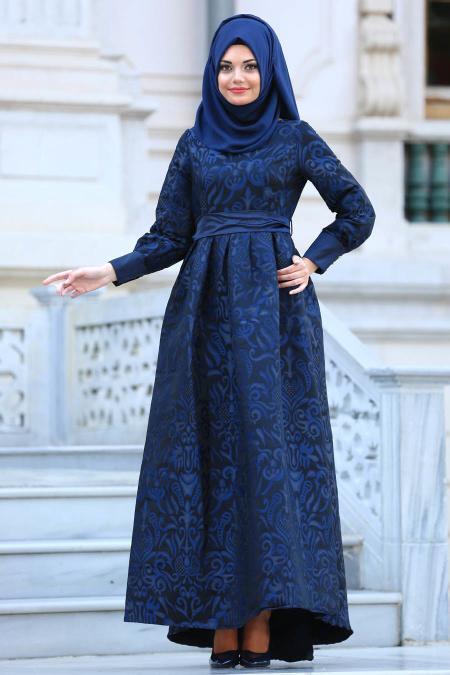 Tesettürlü Abiye Elbise - Desenli Lacivert Tesettür Abiye Elbise 2087L