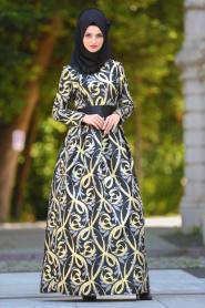 Tesettürlü Abiye Elbise - Desenli Pileli Siyah Tesettür Abiye Elbise 2441S - Thumbnail