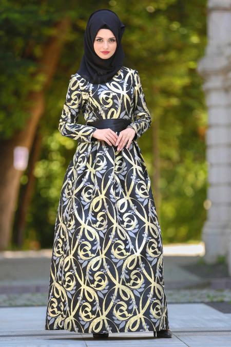 Tesettürlü Abiye Elbise - Desenli Pileli Siyah Tesettür Abiye Elbise 2441S