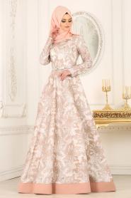 Tesettürlü Abiye Elbise - Desenli Somon Tesettür Abiye Elbise 42220SMN - Thumbnail