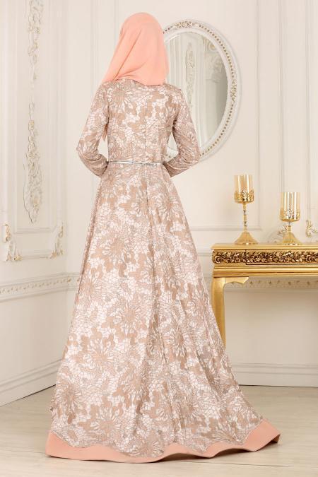 Tesettürlü Abiye Elbise - Desenli Somon Tesettür Abiye Elbise 42220SMN