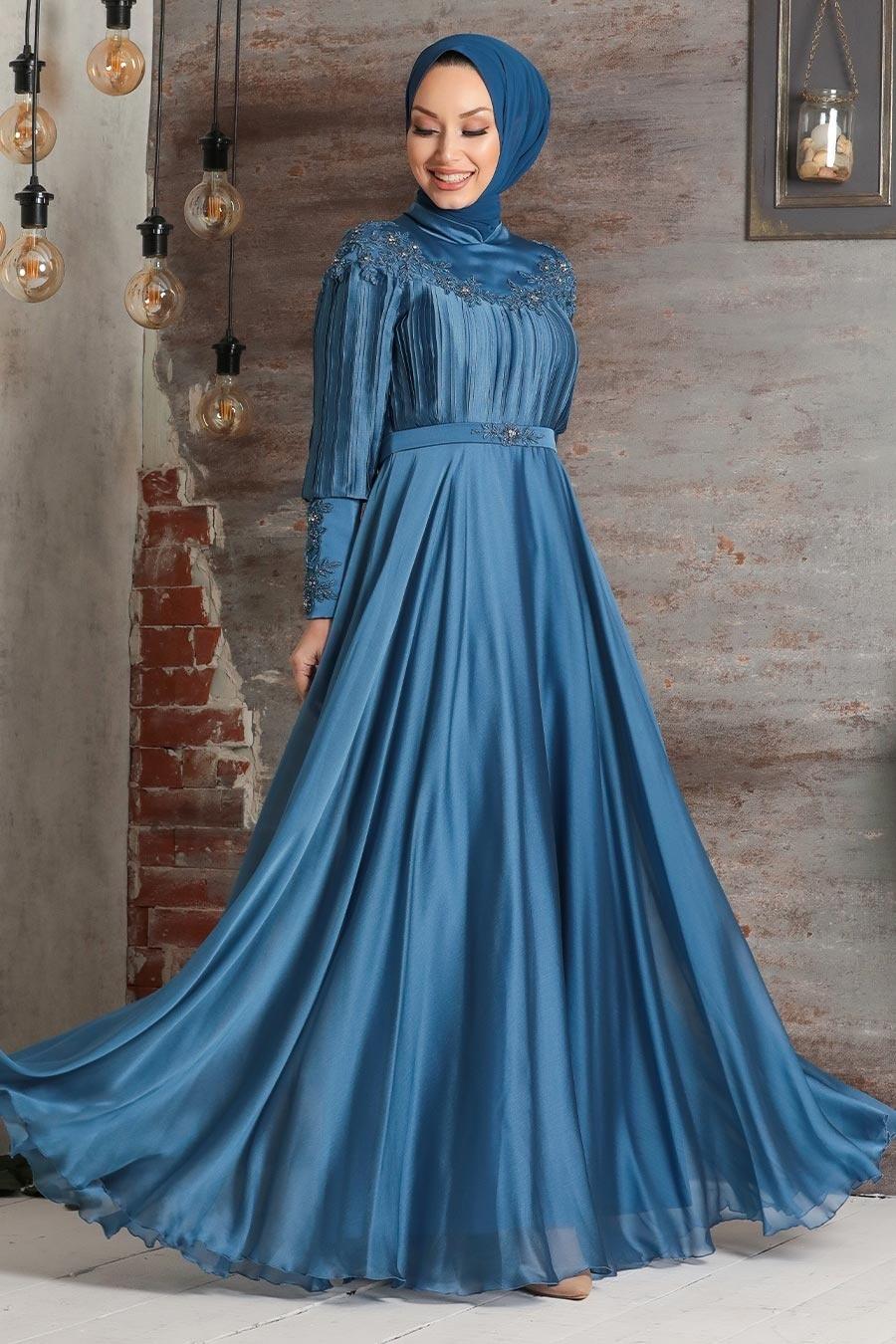 Tesettürlü Abiye Elbise - Drape Detaylı İndigo Mavisi Tesettür Abiye Elbise 21881IM