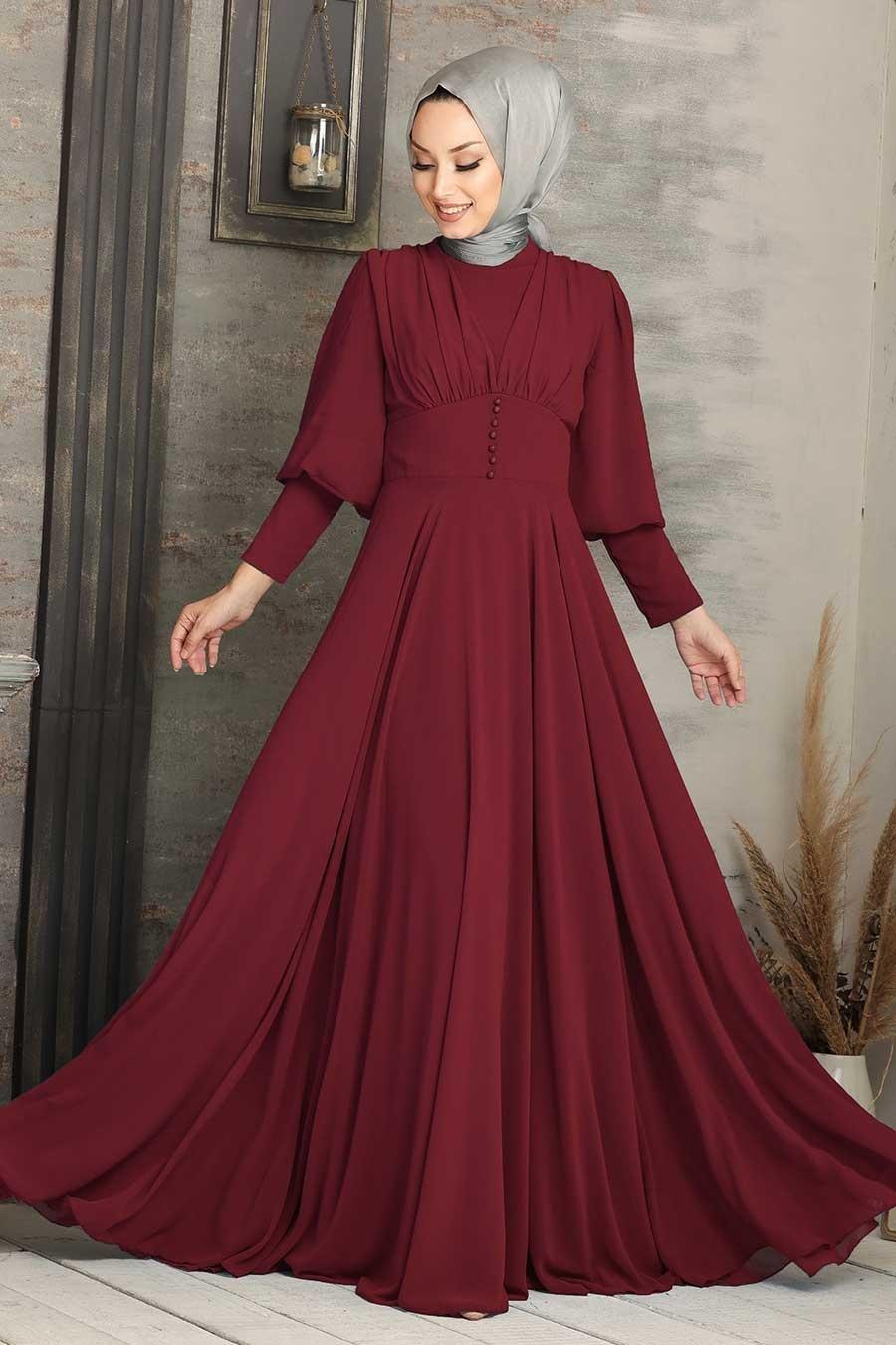 Tesettürlü Abiye Elbise - Düğme Detaylı Bordo Tesettür Abiye Elbise 53810BR