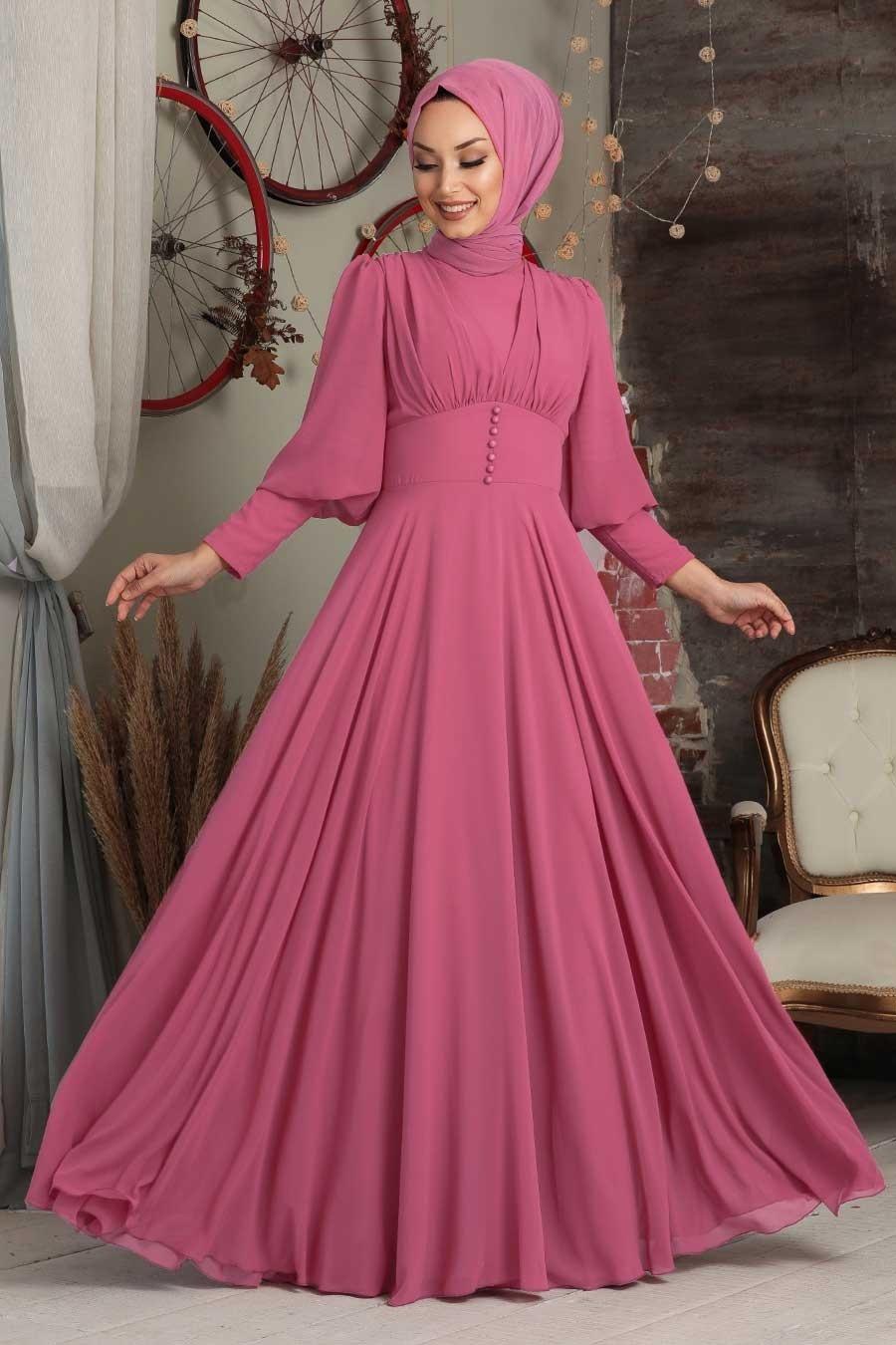 Tesettürlü Abiye Elbise - Düğme Detaylı Fuşya Tesettür Abiye Elbise 53810F