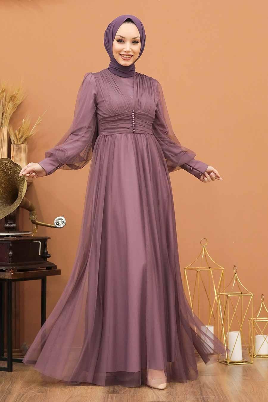 Tesettürlü Abiye Elbise - Düğme Detaylı Koyu Lila Tesettür Abiye Elbise 5478KLILA