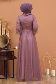 Tesettürlü Abiye Elbise - Düğme Detaylı Koyu Lila Tesettür Abiye Elbise 5478KLILA - Thumbnail