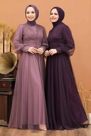 Tesettürlü Abiye Elbise - Düğme Detaylı Mürdüm Tesettür Abiye Elbise 5478MU - Thumbnail