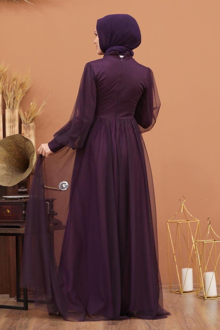 Tesettürlü Abiye Elbise - Düğme Detaylı Mürdüm Tesettür Abiye Elbise 5478MU