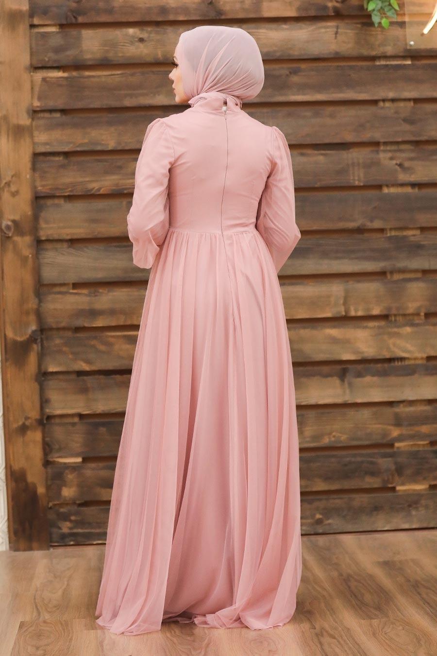 Tesettürlü Abiye Elbise - Düğme Detaylı Pudra Tesettür Abiye Elbise 5478PD