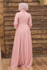 Tesettürlü Abiye Elbise - Düğme Detaylı Pudra Tesettür Abiye Elbise 5478PD - Thumbnail