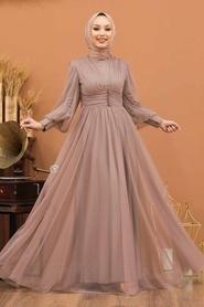 Tesettürlü Abiye Elbise - Düğme Detaylı Vizon Tesettür Abiye Elbise 5478V - Thumbnail