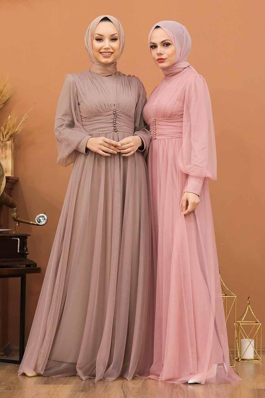 Tesettürlü Abiye Elbise - Düğme Detaylı Vizon Tesettür Abiye Elbise 5478V