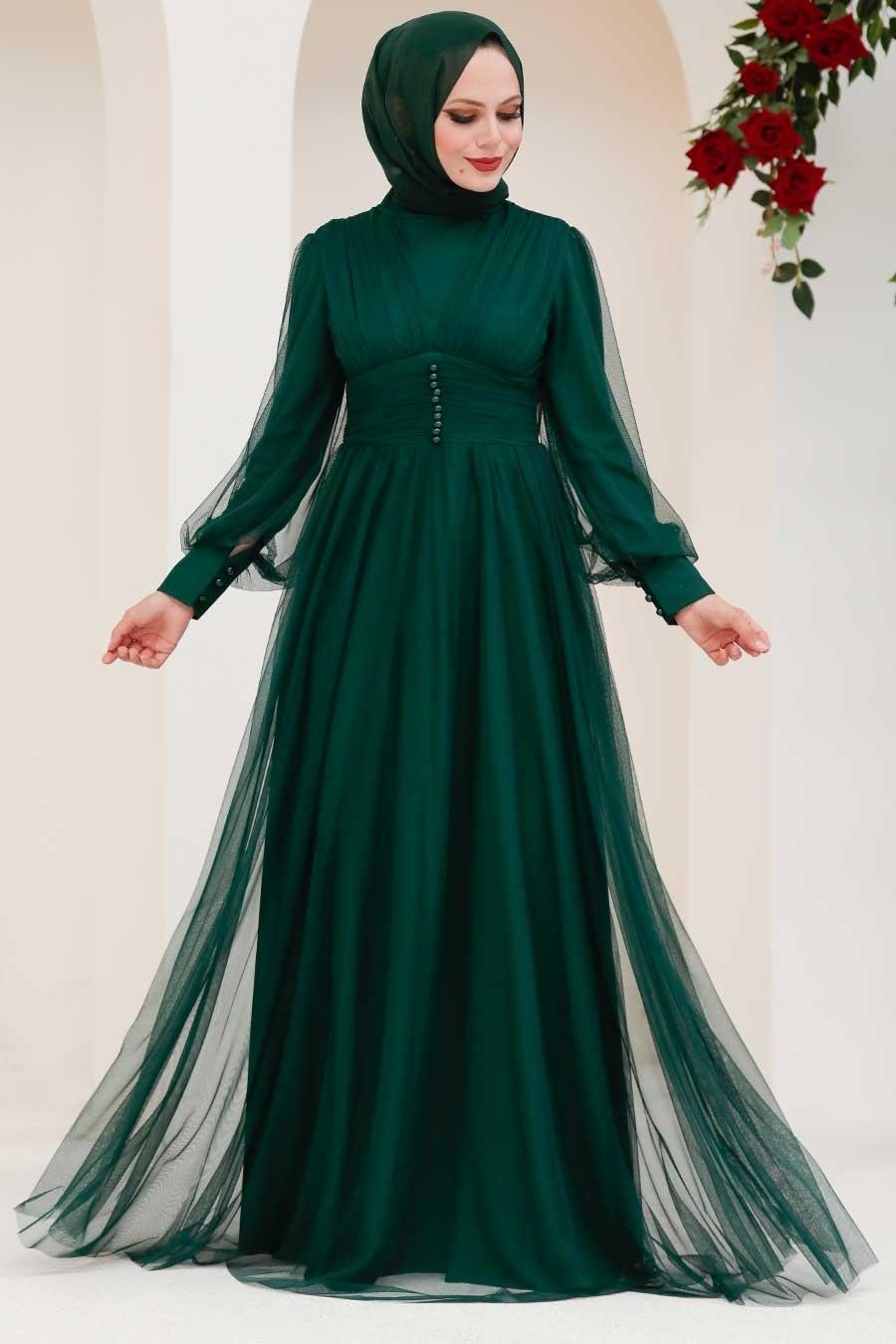 Tesettürlü Abiye Elbise - Düğme Detaylı Yeşil Tesettür Abiye Elbise 5478Y