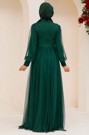 Tesettürlü Abiye Elbise - Düğme Detaylı Yeşil Tesettür Abiye Elbise 5478Y - Thumbnail