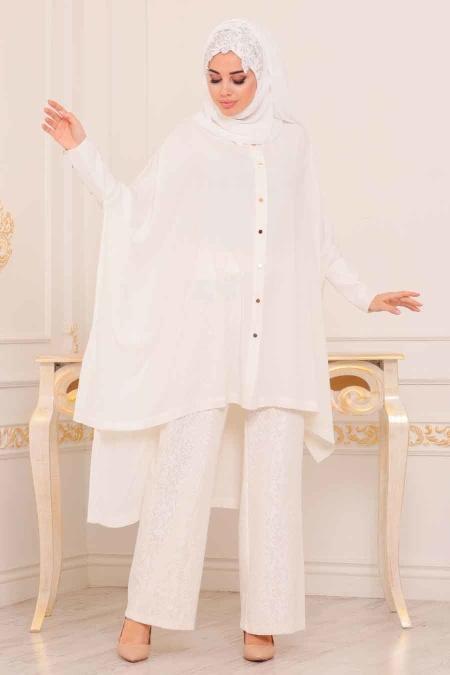 Tesettürlü Abiye Elbise - Tunik & Pantolon Ekru Tesettür Abiye Takım 3754E