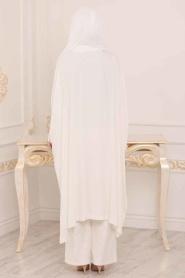 Tesettürlü Abiye Elbise - Tunik & Pantolon Ekru Tesettür Abiye Takım 3754E - Thumbnail