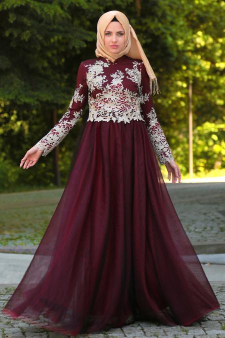 Tesettürlü Abiye Elbise - Eteği Tüllü Bordo Tesettür Abiye Elbise 7714BR