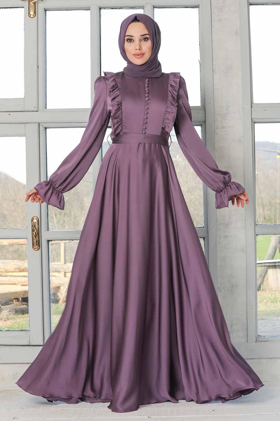 Tesettürlü Abiye Elbise - Fırfır Detaylı Lila Tesettür Abiye Elbise 2752LILA
