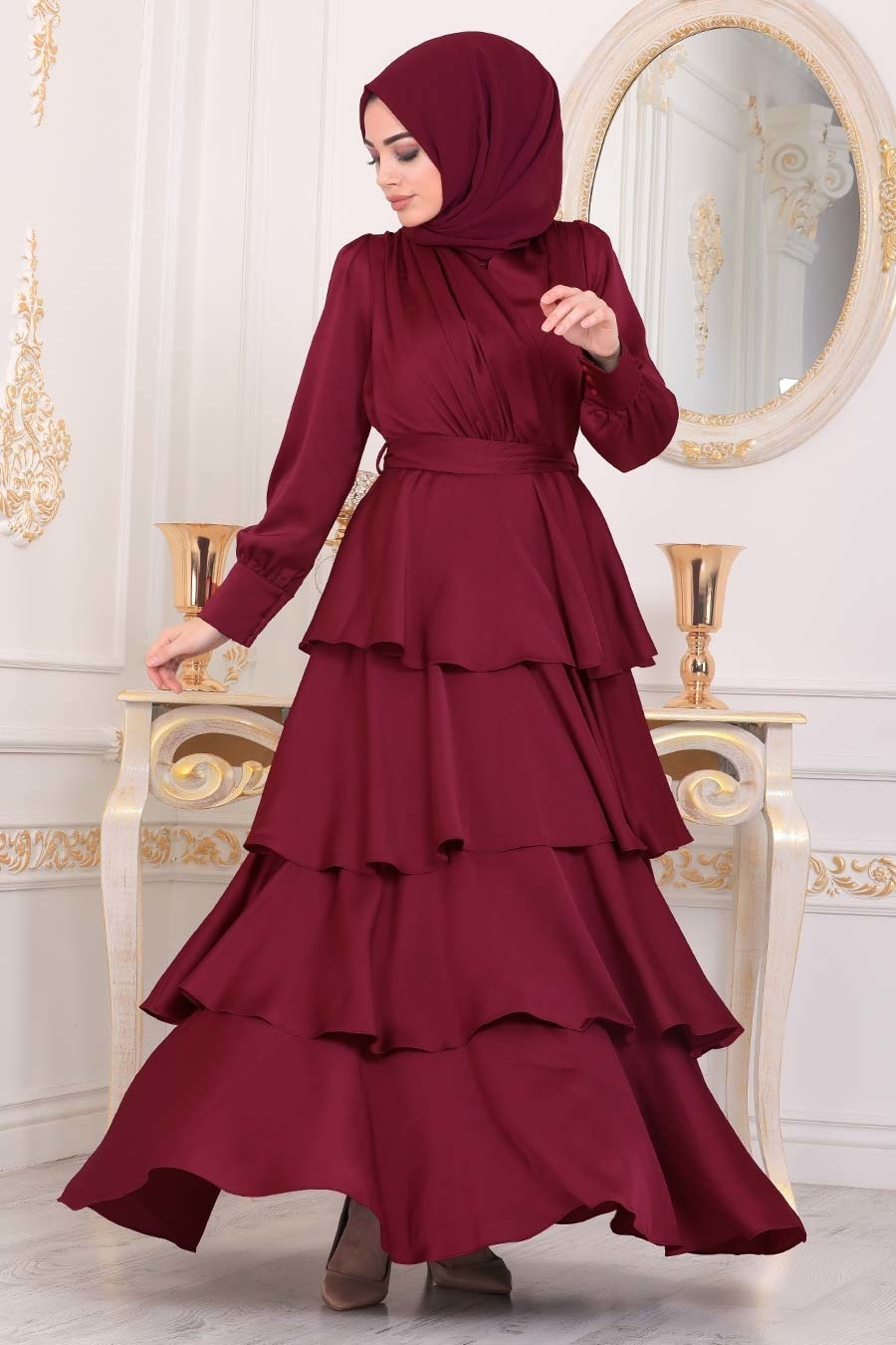 Tesettürlü Abiye Elbise - Fırfırlı Krep Saten Bordo Tesettür Abiye Elbise 22701BR