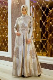 Tesettürlü Abiye Elbise - İnci Detaylı Desenli Bej Abiye Elbise - Thumbnail
