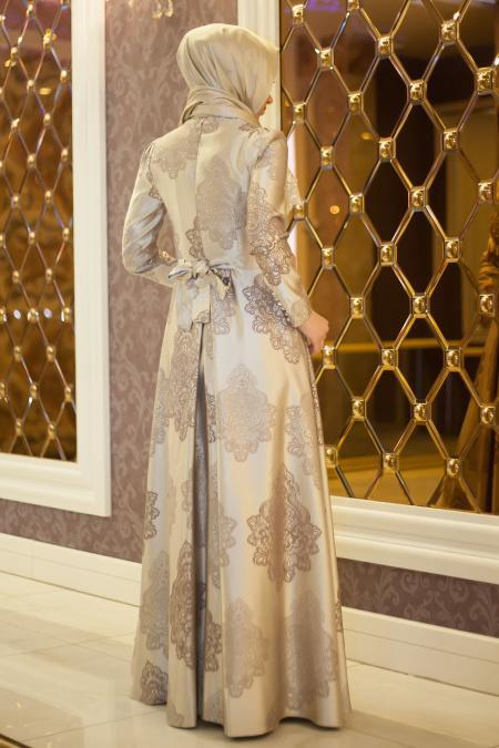Tesettürlü Abiye Elbise - İnci Detaylı Desenli Bej Abiye Elbise