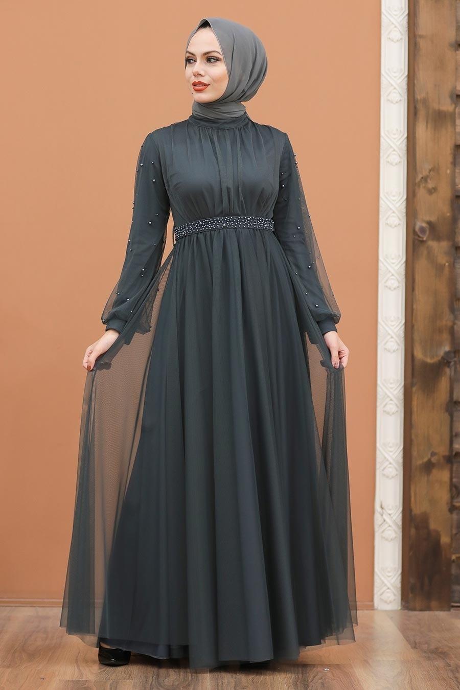 Tesettürlü Abiye Elbise - İnci Detaylı Füme Tesettür Abiye Elbise 5514FU