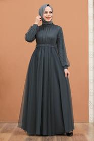 Tesettürlü Abiye Elbise - İnci Detaylı Füme Tesettür Abiye Elbise 5514FU - Thumbnail