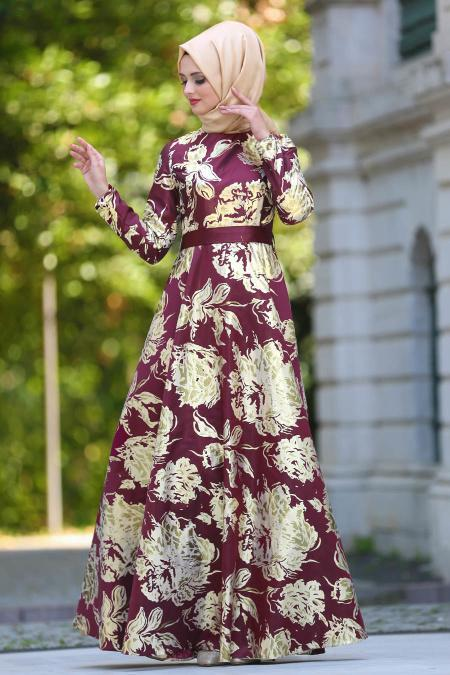 Tesettürlü Abiye Elbise - Jakarlı Bordo Tesettür Abiye Elbise 24496BR