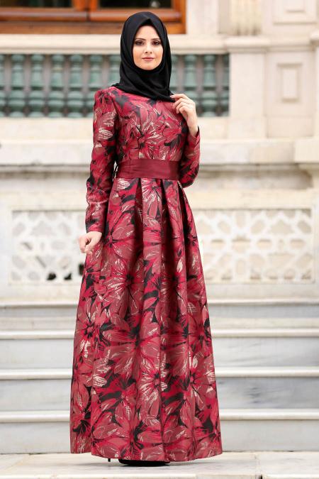 Tesettürlü Abiye Elbise - Jakarlı Çiçek Desenli Bordo Tesettürlü Abiye Elbise 82459BR