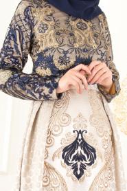 Tesettürlü Abiye Elbise - Jakarlı Dantel Detaylı Lacivert Tesettürlü Abiye Elbise 31002L - Thumbnail