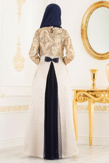 Tesettürlü Abiye Elbise - Jakarlı Dantel Detaylı Lacivert Tesettürlü Abiye Elbise 31002L