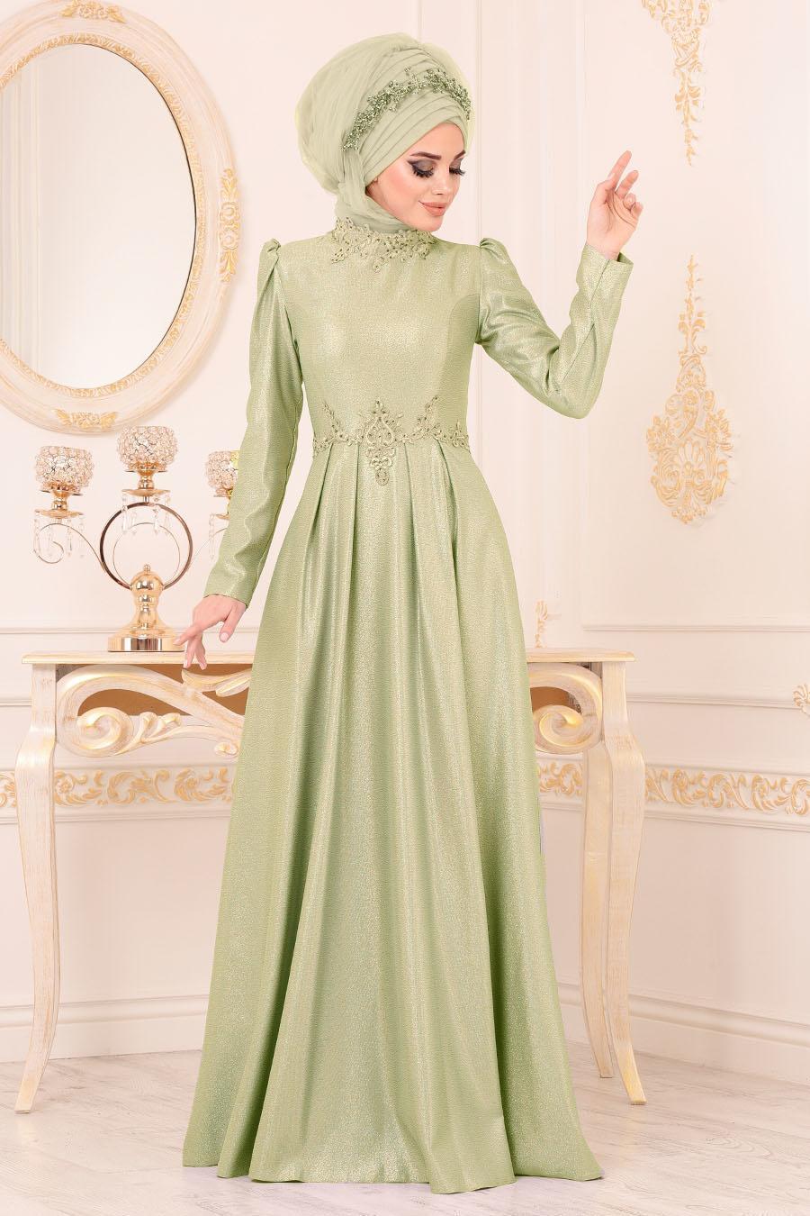 Tesettürlü Abiye Elbise - Karpuz Kol Güpürlü Fıstık Yeşili Tesettür Abiye Elbise 36550FY